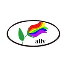 ally flower on clear with black text Patches