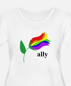 ally flower on clear with black text Plus Size T-S