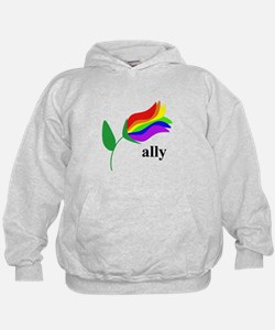 ally flower on clear with black text Hoodie
