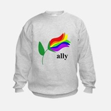 ally flower on clear with black text Sweatshirt