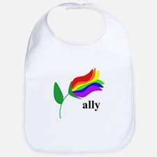 ally flower on clear with black text Bib