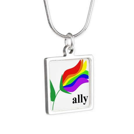 ally flower on clear with black text Silver Square