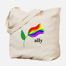 ally flower on clear with black text Tote Bag