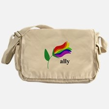 ally flower on clear with black text Messenger Bag