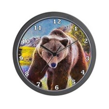 Grizzly Bear Territory Wall Clock