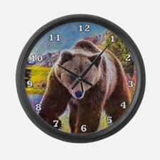 Grizzly Bear Territory Large Wall Clock