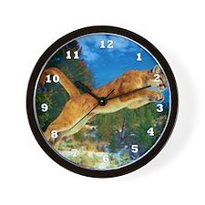 Leaping Cougar Wall Clock
