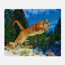Leaping Cougar Throw Blanket