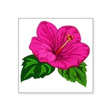 "Large Pink Hibiscus Bloom Square Sticker 3"" x 3"""