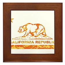 california bear camo orange Framed Tile