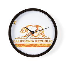 california bear camo orange Wall Clock