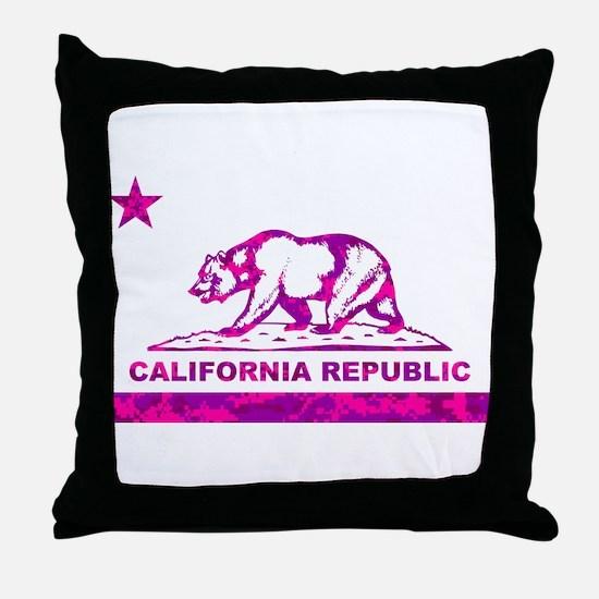 california bear camo pink Throw Pillow