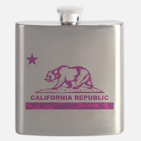 california bear camo pink Flask