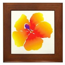 Red and Yellow Watercolor Hibiscus Flo Framed Tile