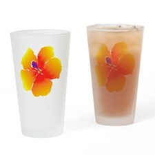 Red and Yellow Watercolor Hibiscus  Drinking Glass