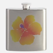 Red and Yellow Watercolor Hibiscus Flower Flask