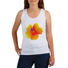 Red and Yellow Watercolor Hibiscu Women's Tank Top