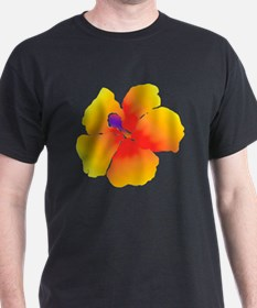 Red and Yellow Watercolor Hibiscus Fl T-Shirt