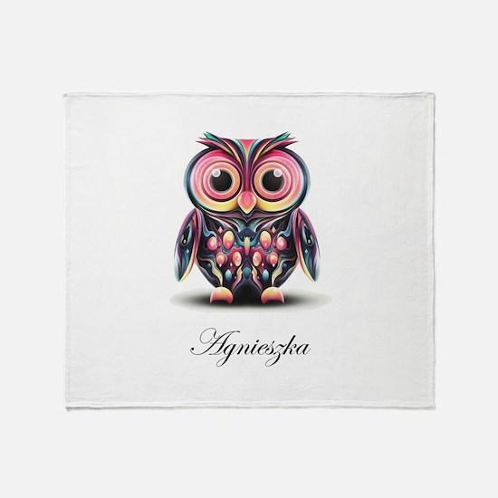 Agi's Owl on White Throw Blanket
