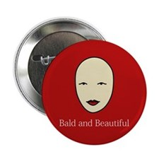 """Bald and Beautiful on red 2.25"""" Button"""