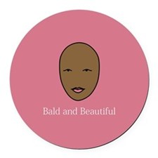 Bald and Beautiful on pink Round Car Magnet