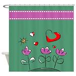 Cute Flower and Heart Garden Shower Curtain