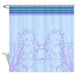 Blue Floral Stripes Shower Curtain