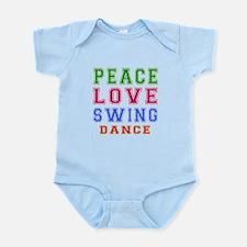Peace Love Swing Dance Designs Infant Bodysuit