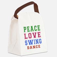 Peace Love Swing Dance Designs Canvas Lunch Bag