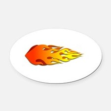 Racing Flames Oval Car Magnet