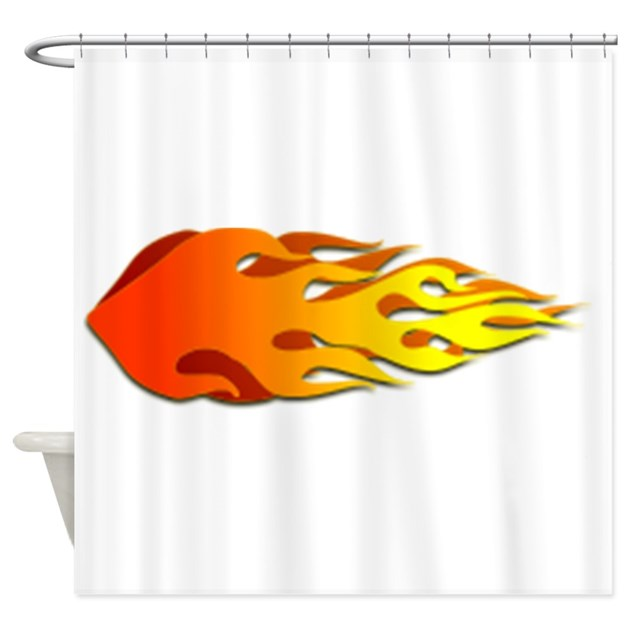 Racing flames shower curtain by istudiodesigns for Race car shower curtain