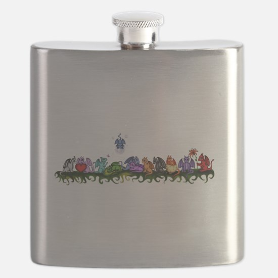 many cute Dragons Flask
