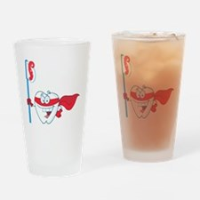 superhero tooth with toothbrush Drinking Glass