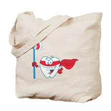 superhero tooth with toothbrush Tote Bag
