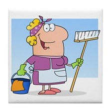cartoon maid cleaning lady housekeepe Tile Coaster