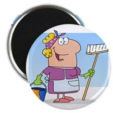 cartoon maid cleaning lady housekeeper Magnet