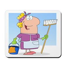 cartoon maid cleaning lady housekeeper Mousepad