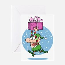 funny xmas elf running with present Greeting Card