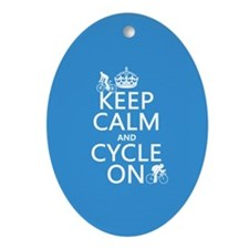 Keep Calm and Cycle On Ornament (Oval)