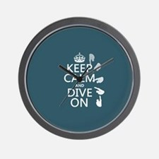 Keep Calm and Dive On Wall Clock