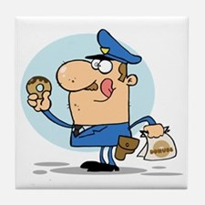 funny cop with donuts cartoon Tile Coaster