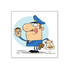 "funny cop with donuts carto Square Sticker 3"" x 3"""