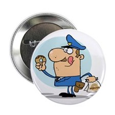 "funny cop with donuts cartoon 2.25"" Button"