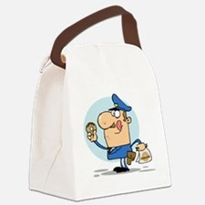 funny cop with donuts cartoon Canvas Lunch Bag