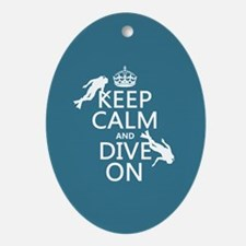 Keep Calm and Dive on (scuba) Ornament (Oval)