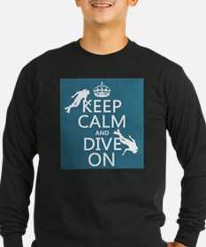 Keep Calm and Dive on (scuba) Long Sleeve T-Shirt