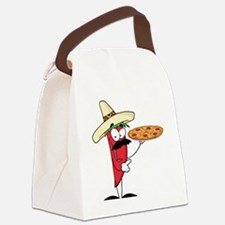 funny chili pepper holding pizza Canvas Lunch Bag