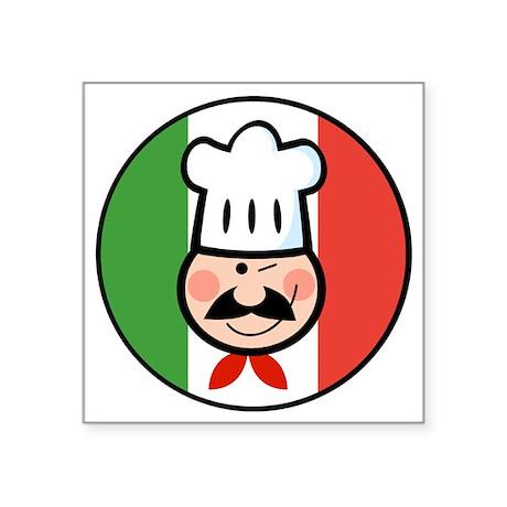 """italian chef design Square Sticker 3"""" x 3"""""""