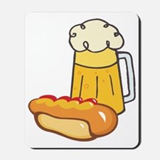 hot dog and beer  Mousepad