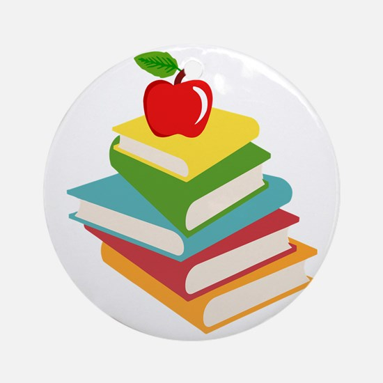 books and apple school design Round Ornament